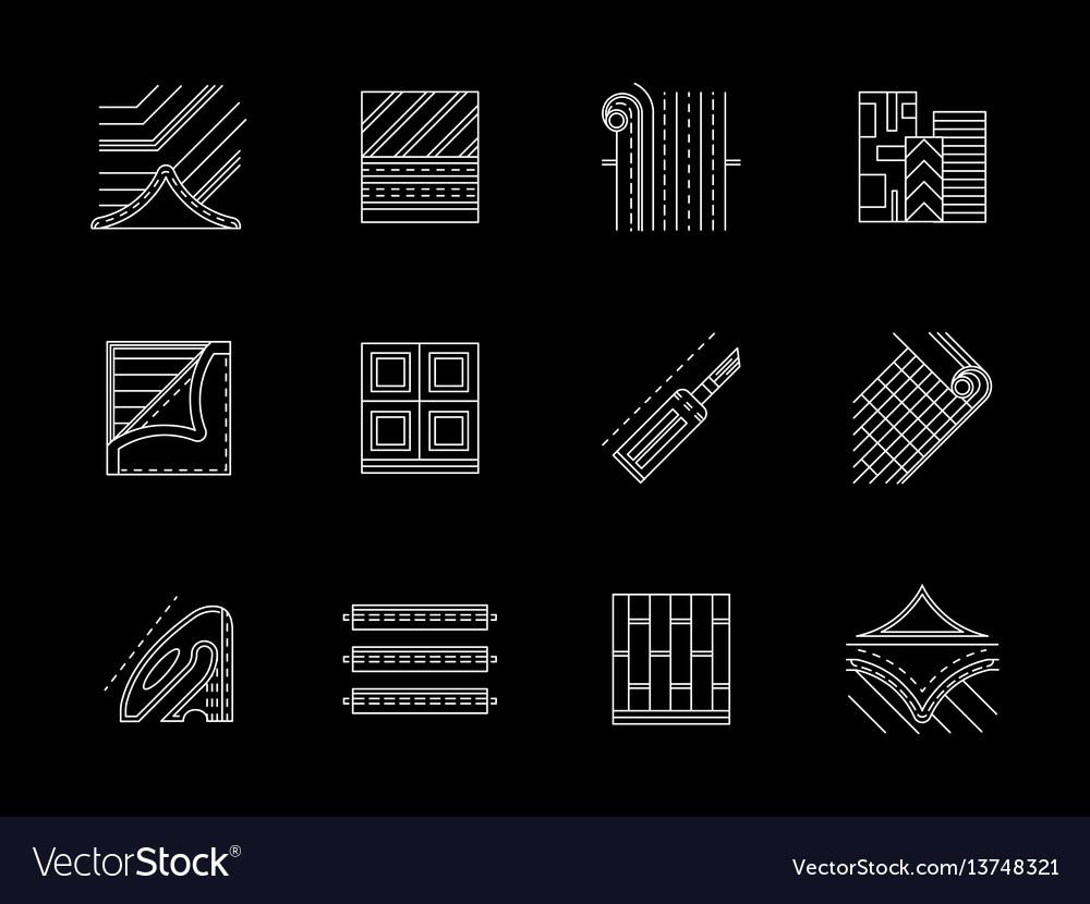 Linoleum floor flat white line icons set vector image
