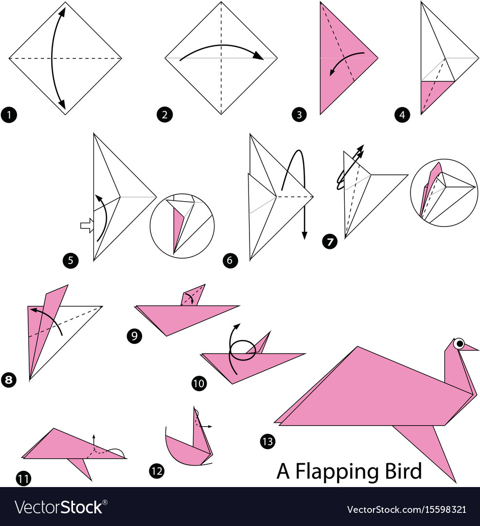 Step instructions how to make origami a bird Vector Image | 1080x987