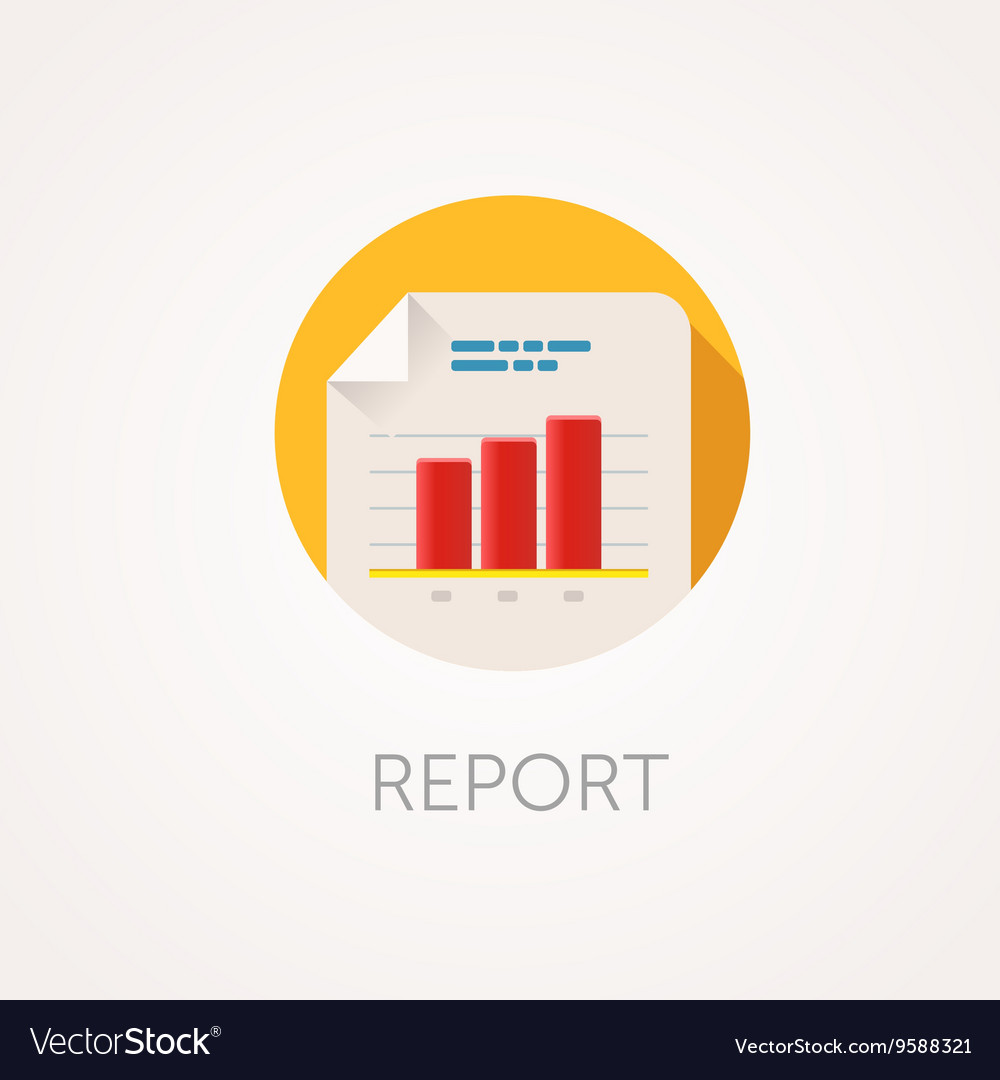 Report Icon Flat design style with long shadow