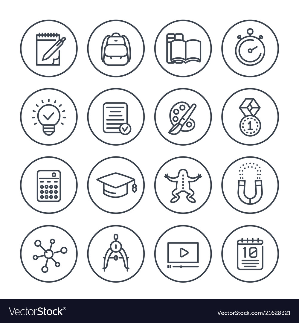 School education learning line icons set