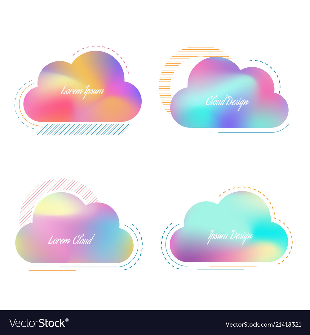 Set of creative cloud with bright blurred