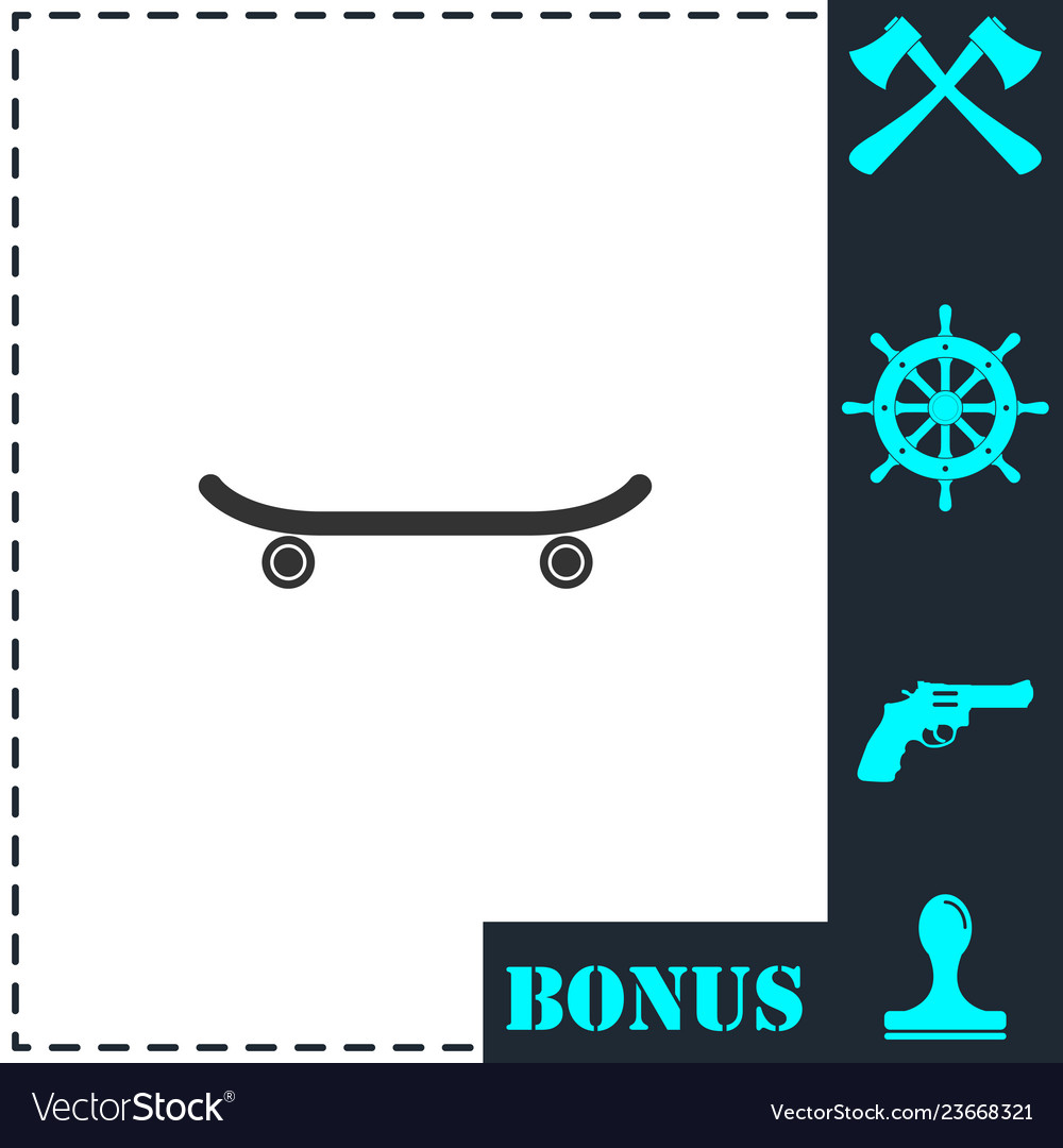 Skateboard icon flat