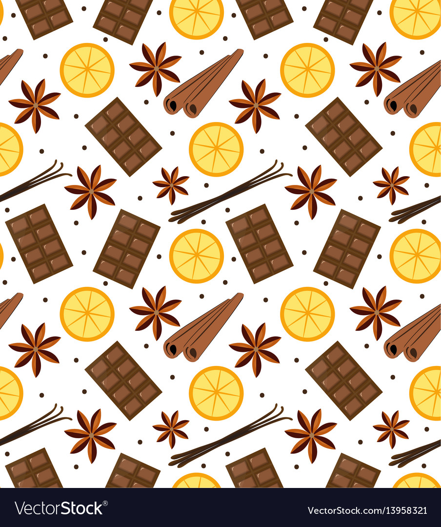 Spices seamless pattern mulled wine and chocolate
