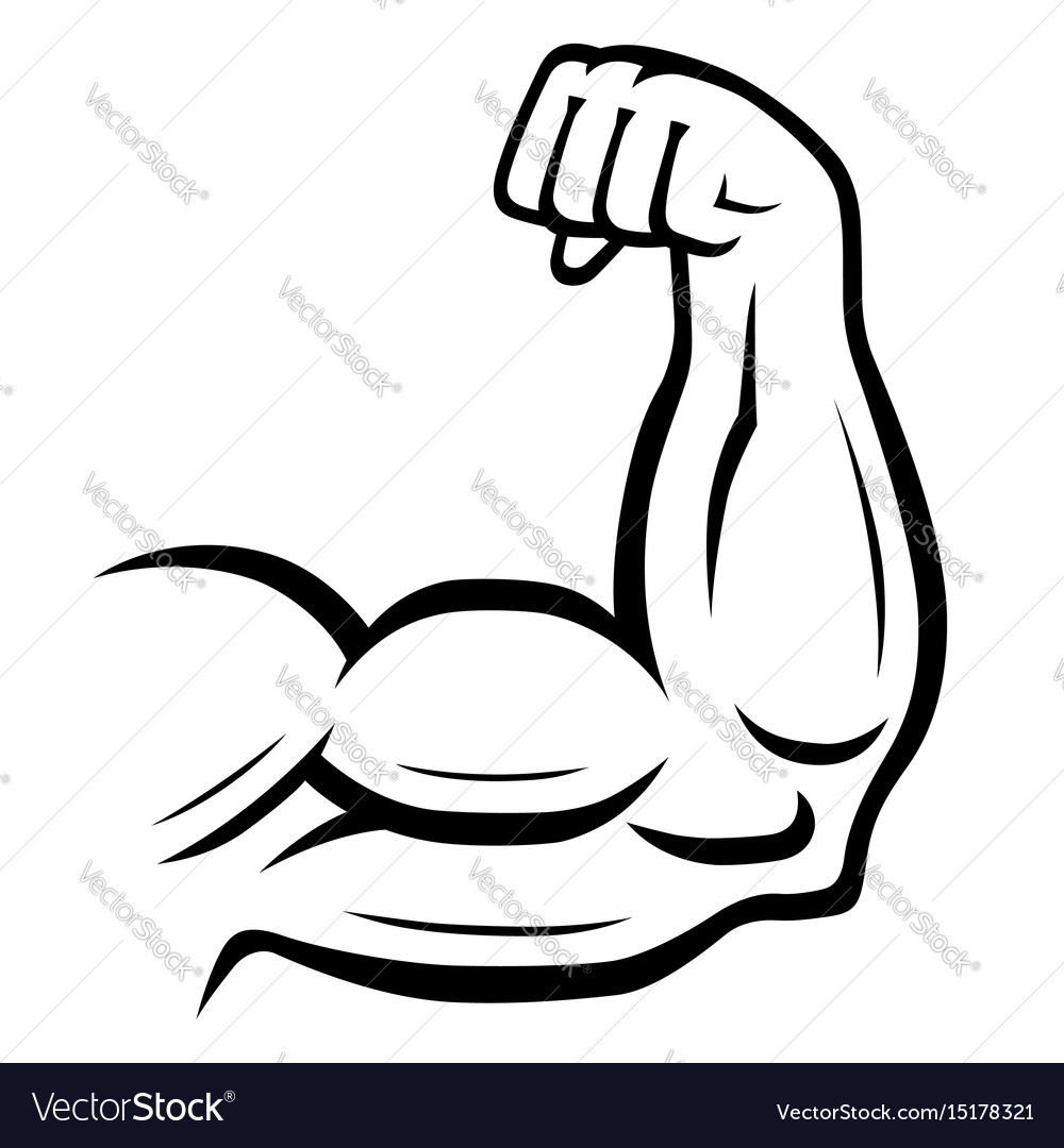 Strong arm icon fitness bodybuilding concept vector image