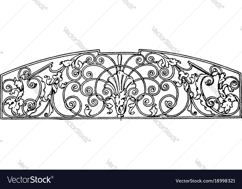 Wrought-iron grill panel is a late german