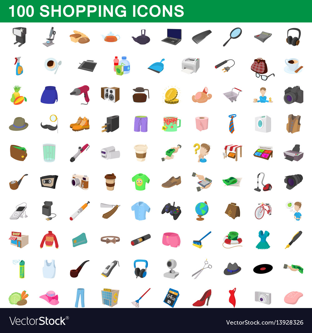 100 shopping set cartoon style