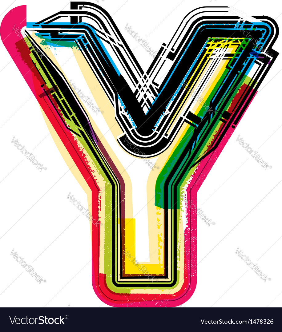 Colorful Grunge Font Letter Y Royalty Free Vector Image