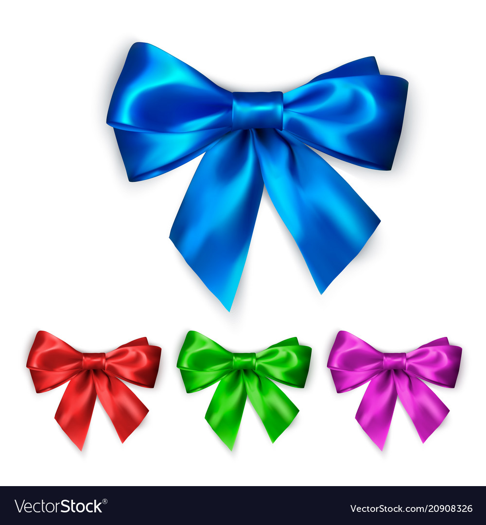 Colorful silk bow set decoration collection of