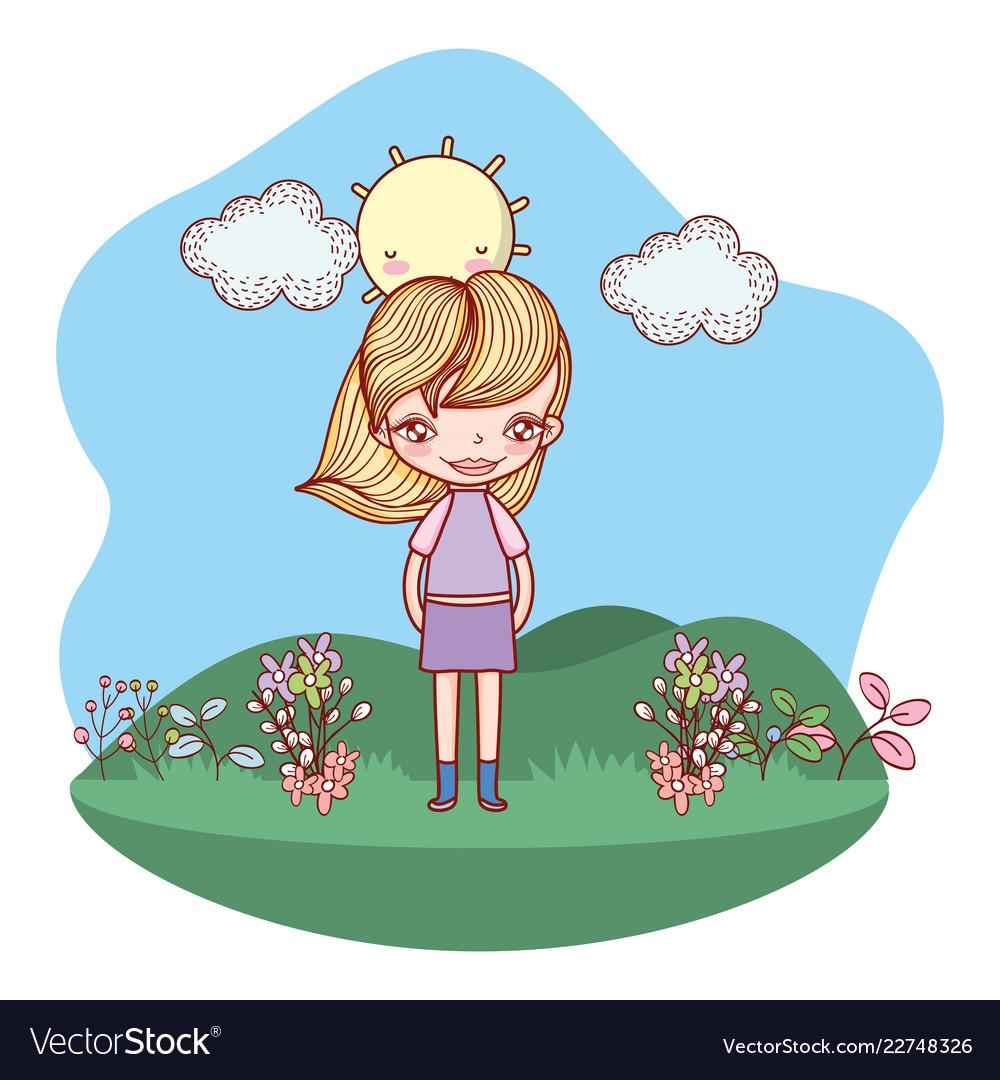 Girl smiling outdoors cartoon