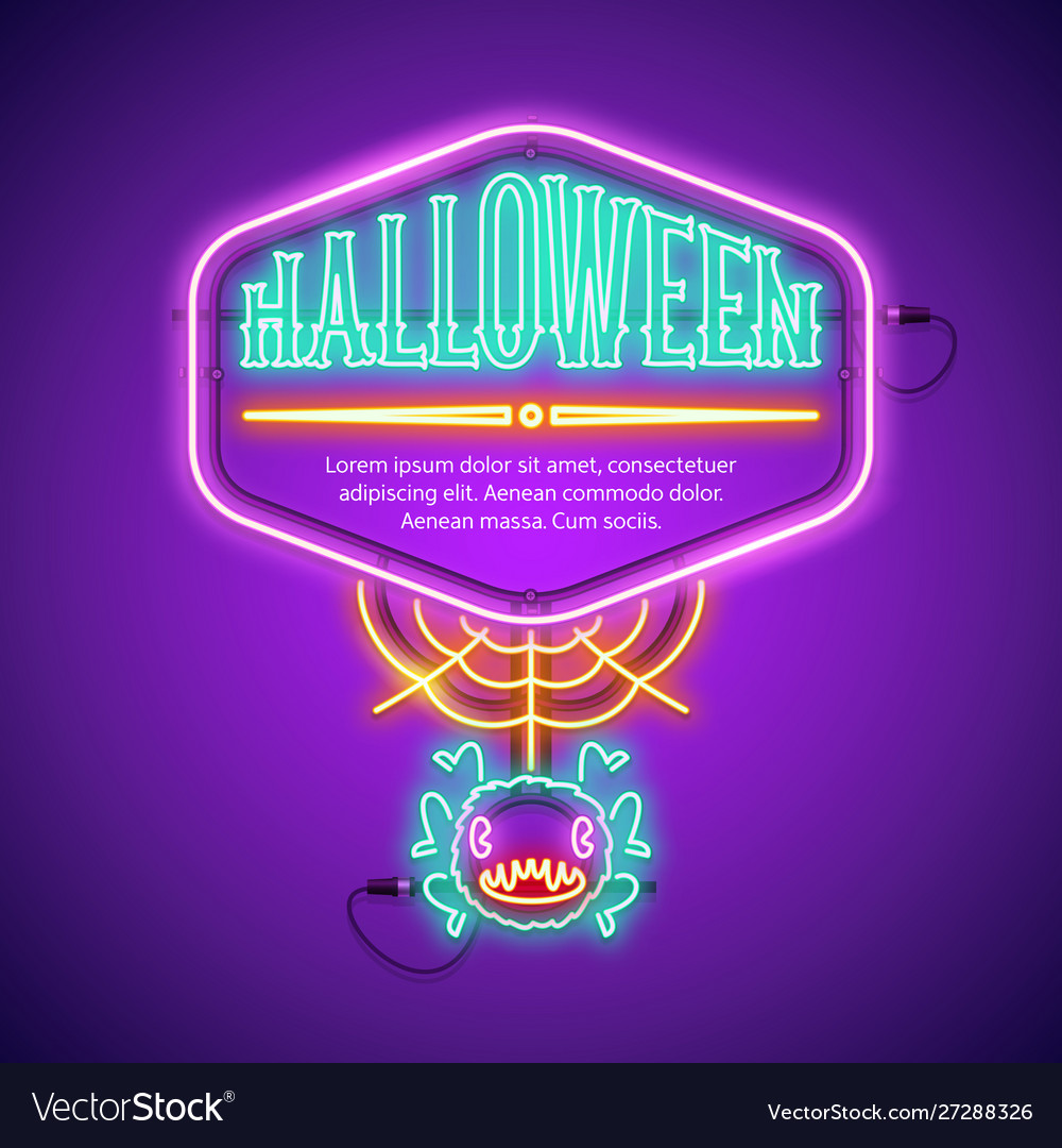 Halloween neon frame with web spider