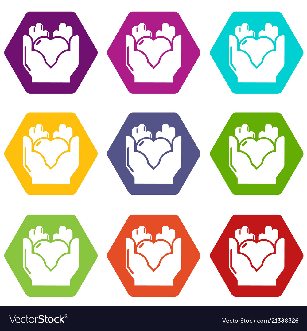 Hand heart icons set 9