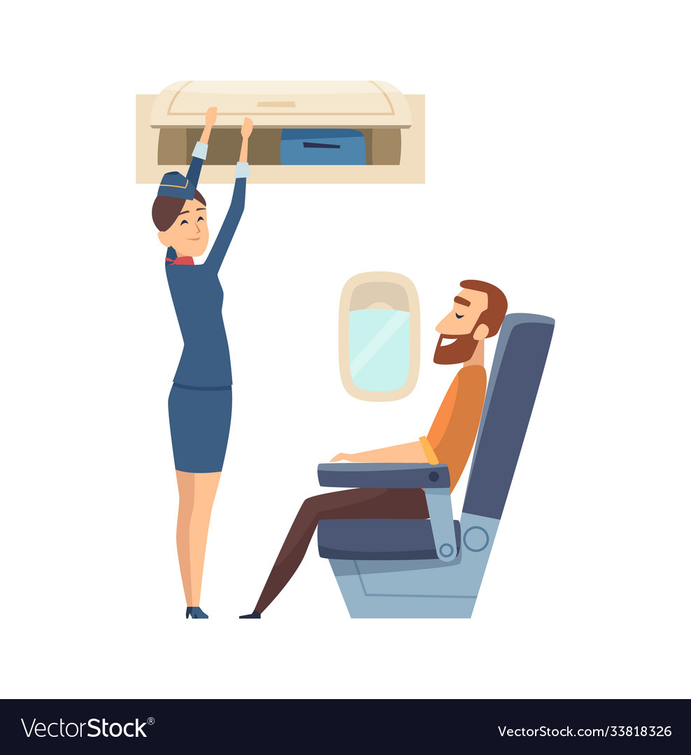 Happy stewardess character passenger in airplane