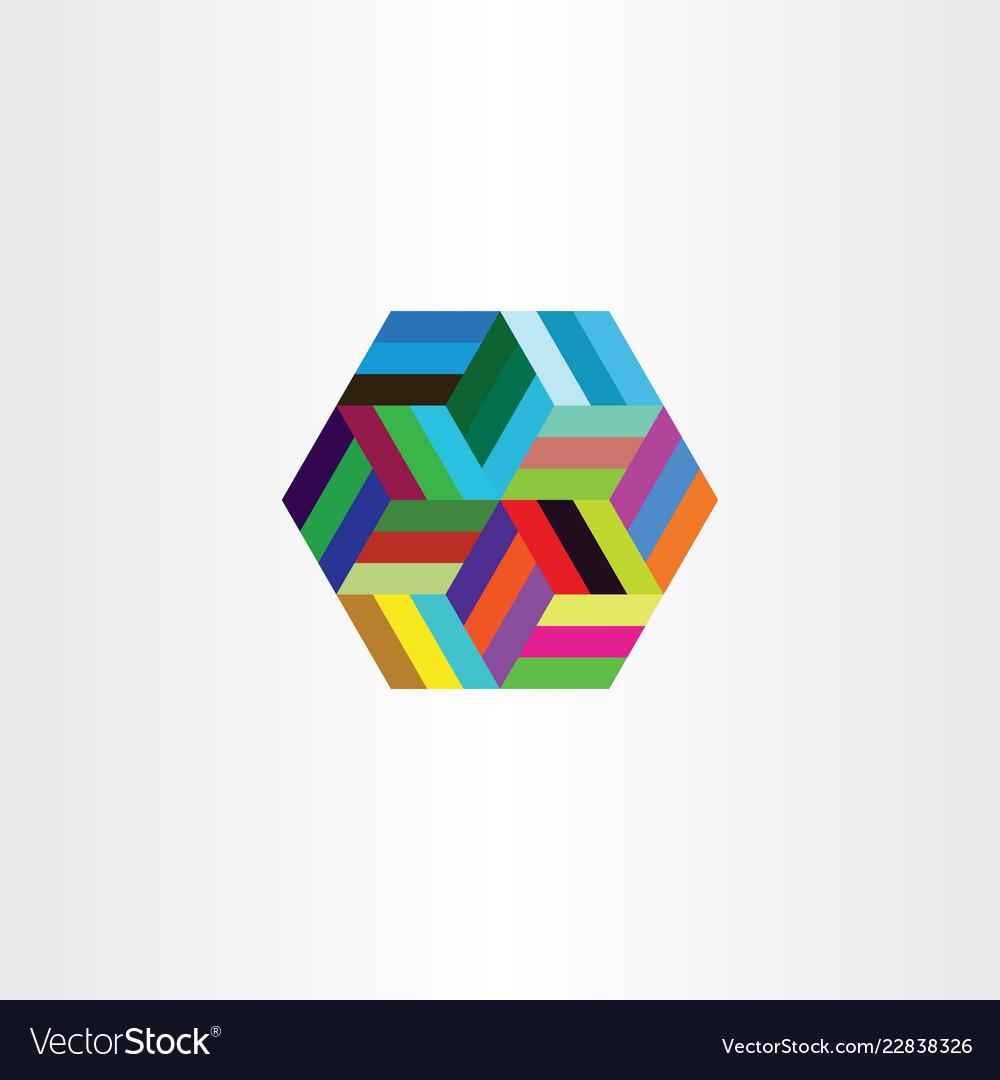 Hexagon colorful symbol design element