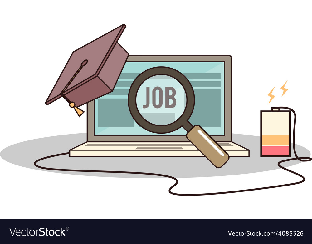Isolated Cartoon College Degree Online Job Searchi