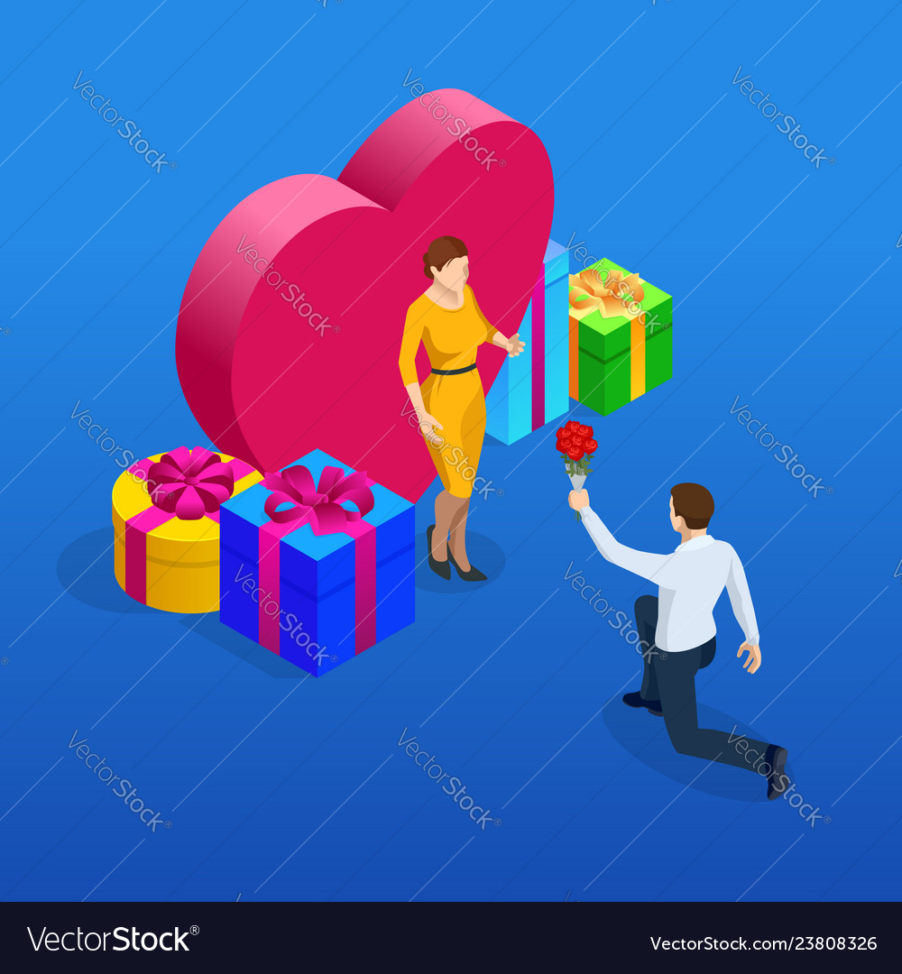 Isometric valentine s card with man giving roses