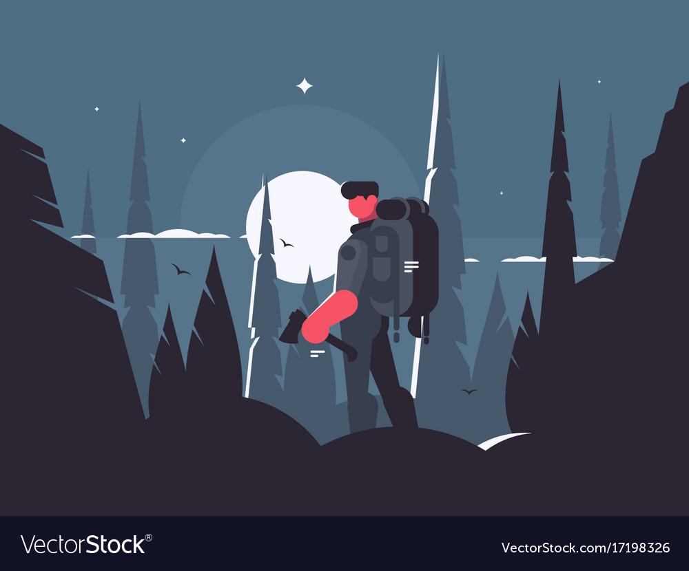 Man traveler in night hike