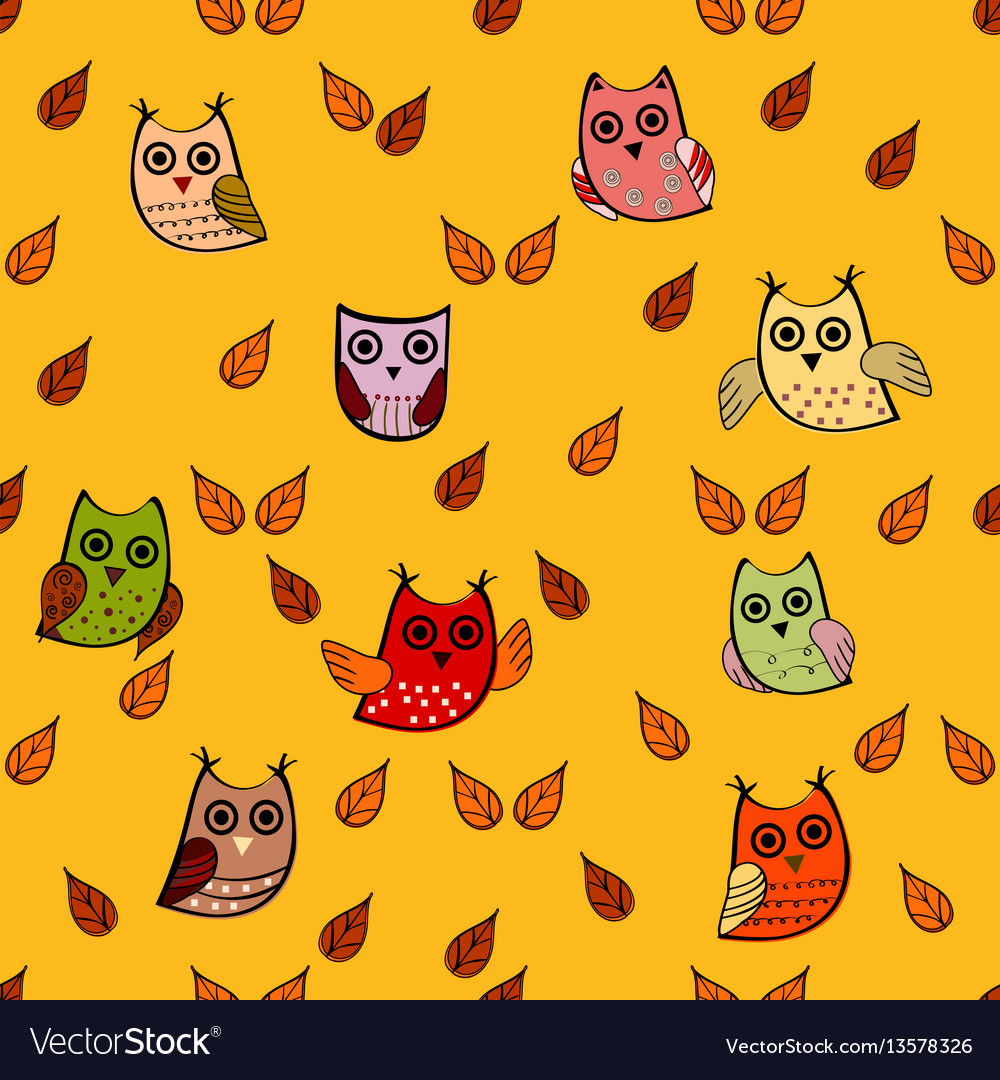 Owl leaves seamless pattern