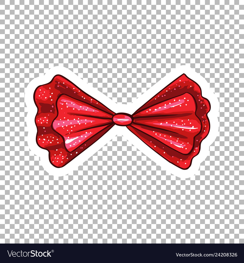 Red bow hand drawn on transparent