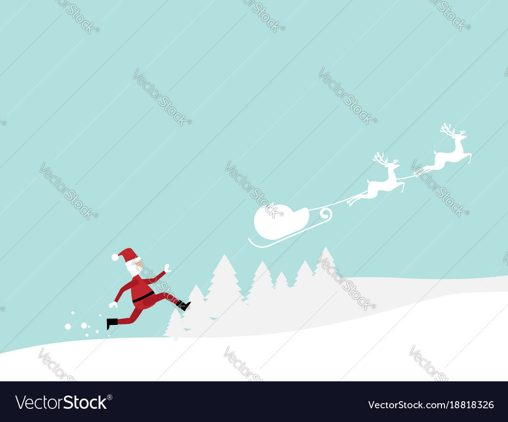 Santa claus running follow reindeer cartoon
