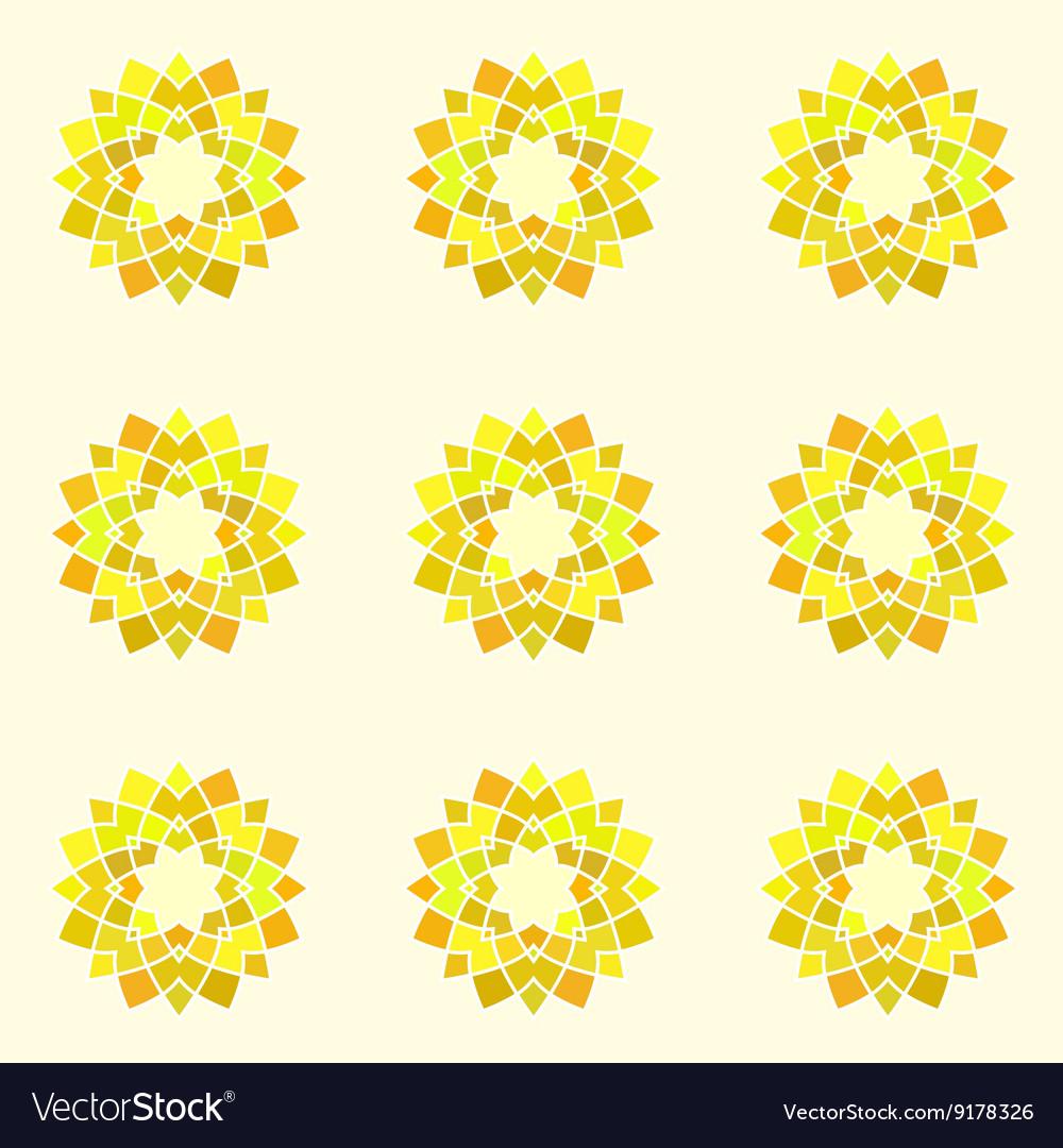 Seamless pattern with yellow mandala vector image