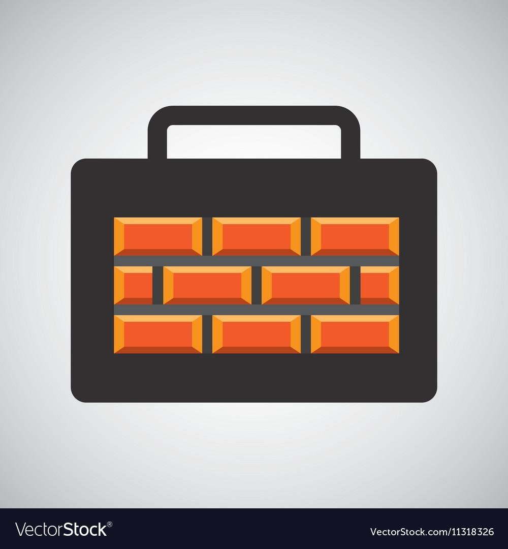 Tool box bricks construction icon design
