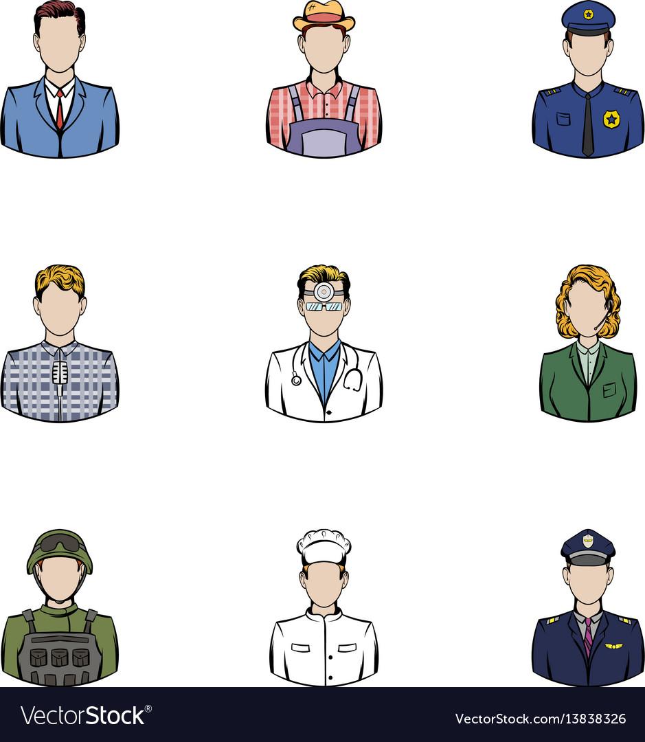 Work icons set cartoon style