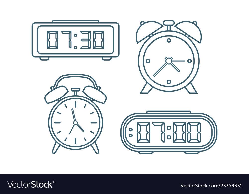 Alarm clocks icons thin line style