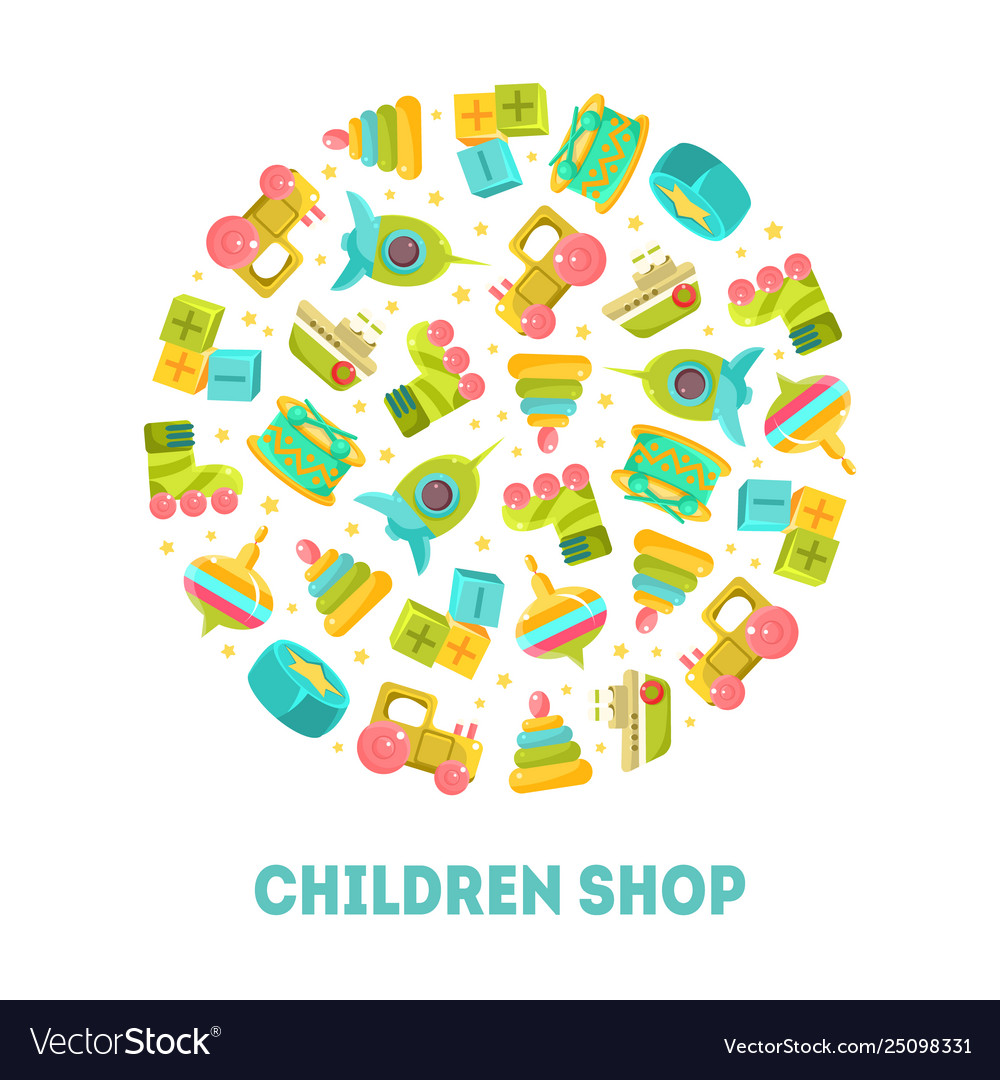 Children shop banner template with cute toys in
