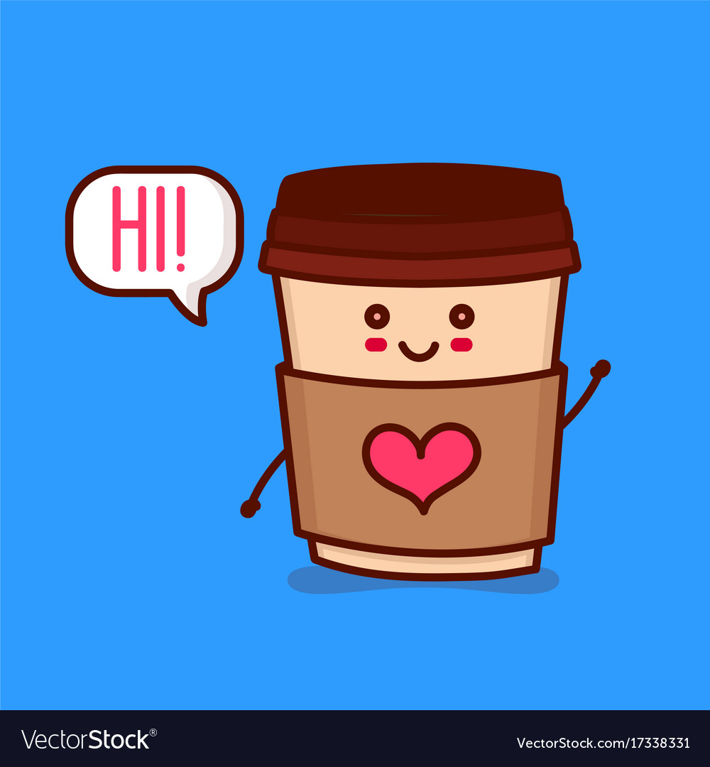 Cute happy smiling paper coffee cup