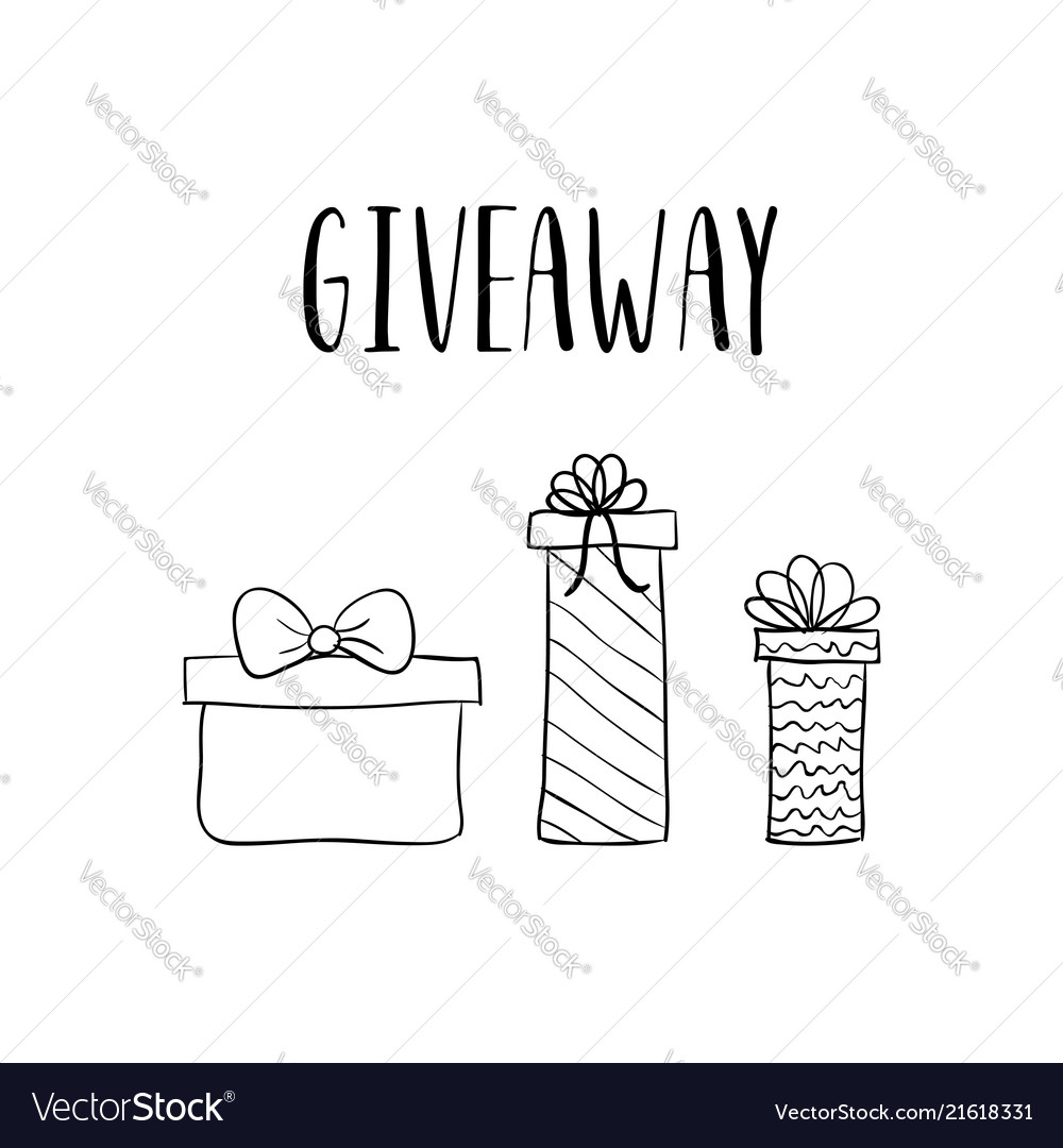 giveaway template hand drawn gift boxes royalty free vector
