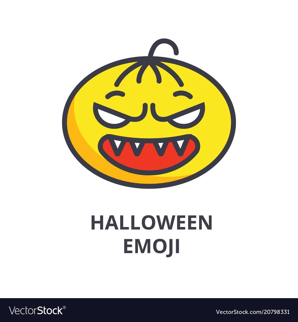 Halloween emoji line icon sign