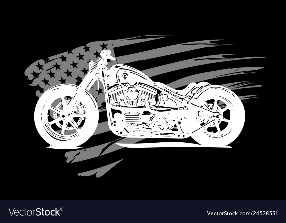 Hand drawn and inked vintage american chopper