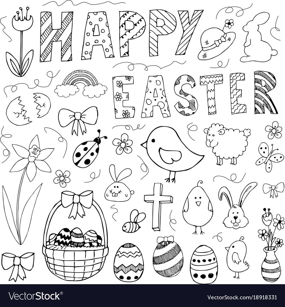 Hand drawn easter doodles set