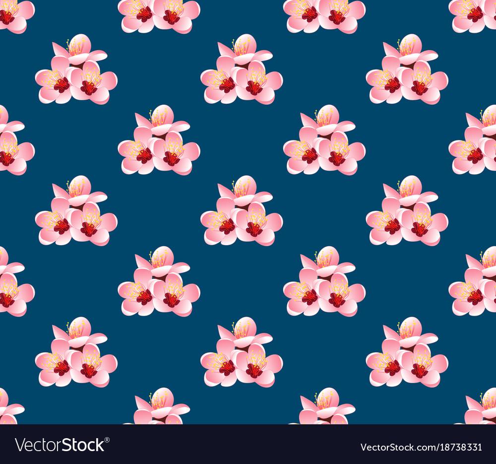 Momo peach flower blossom on indigo blue