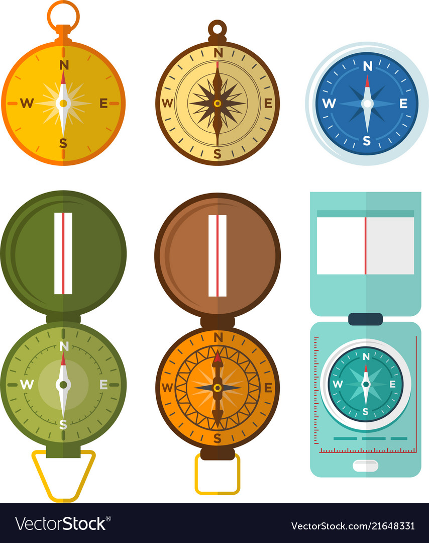 Set of various compass navigation icon with the