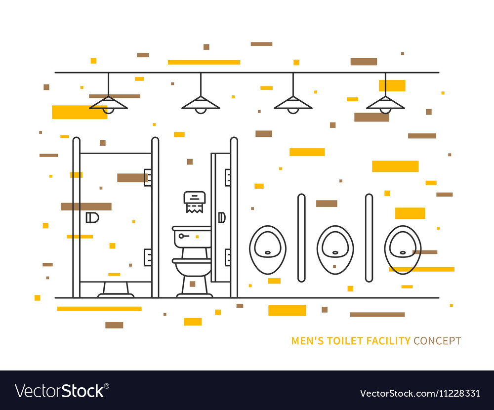 Washroom with urinals and closet basin for men vector image