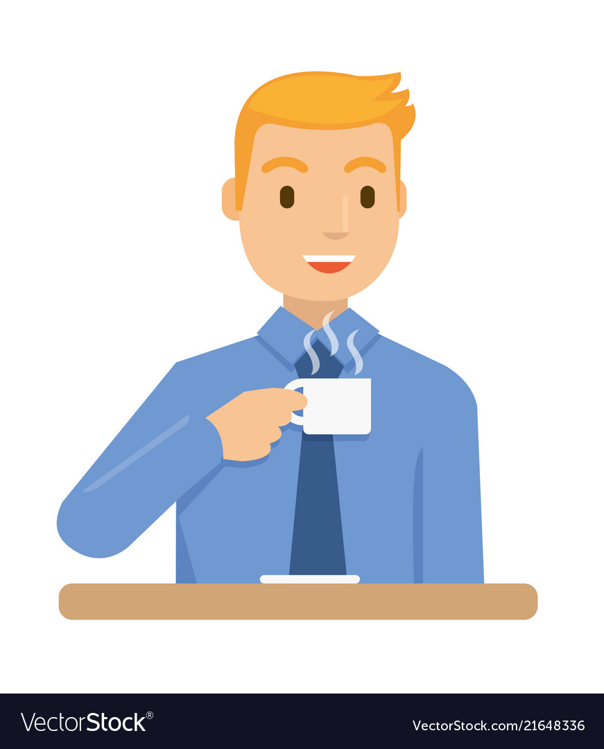 A businessmen are drinking coffee before he go to