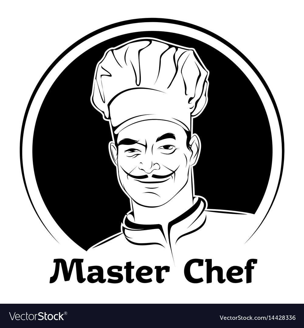 A chef in a cap black and white