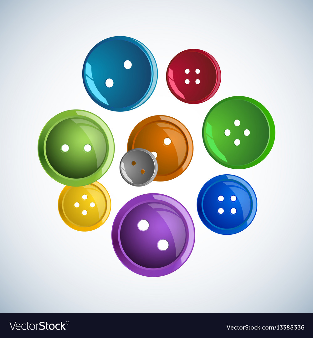 Beautiful colorful glossy buttons clothes on a