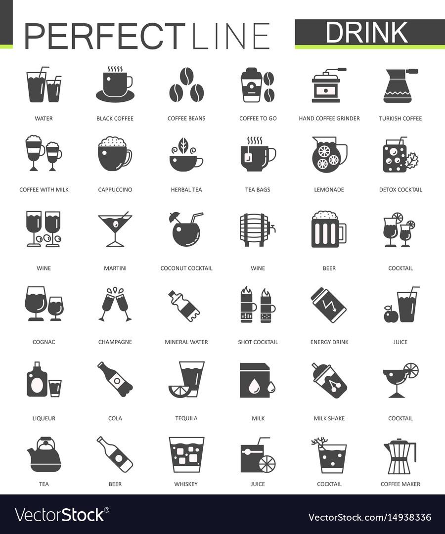 Black classic web drinks icons set