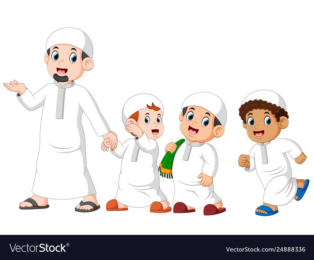 Boys are walking for celebrating ied mubarak