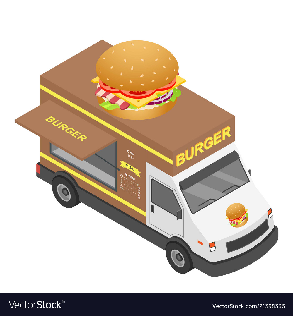 Burger truck icon isometric style