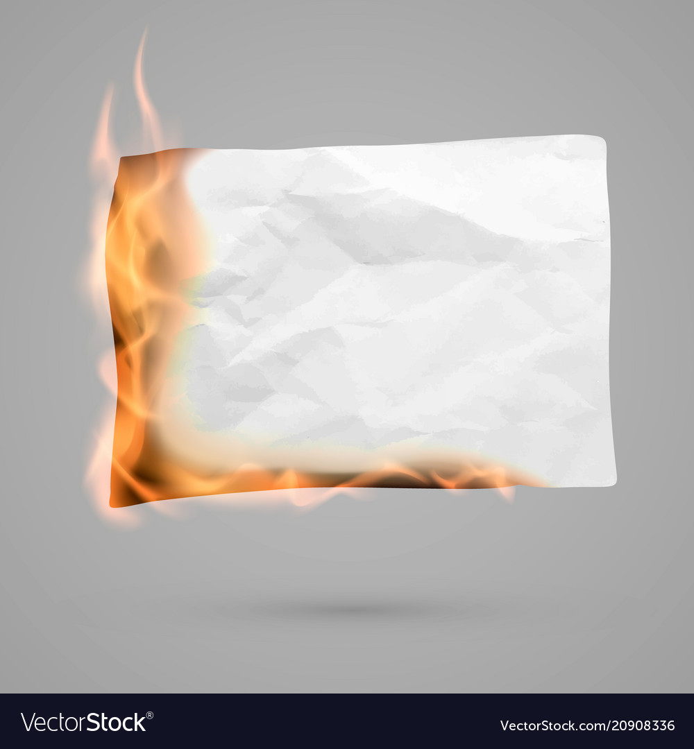 Burning piece paper with copy space crumpled