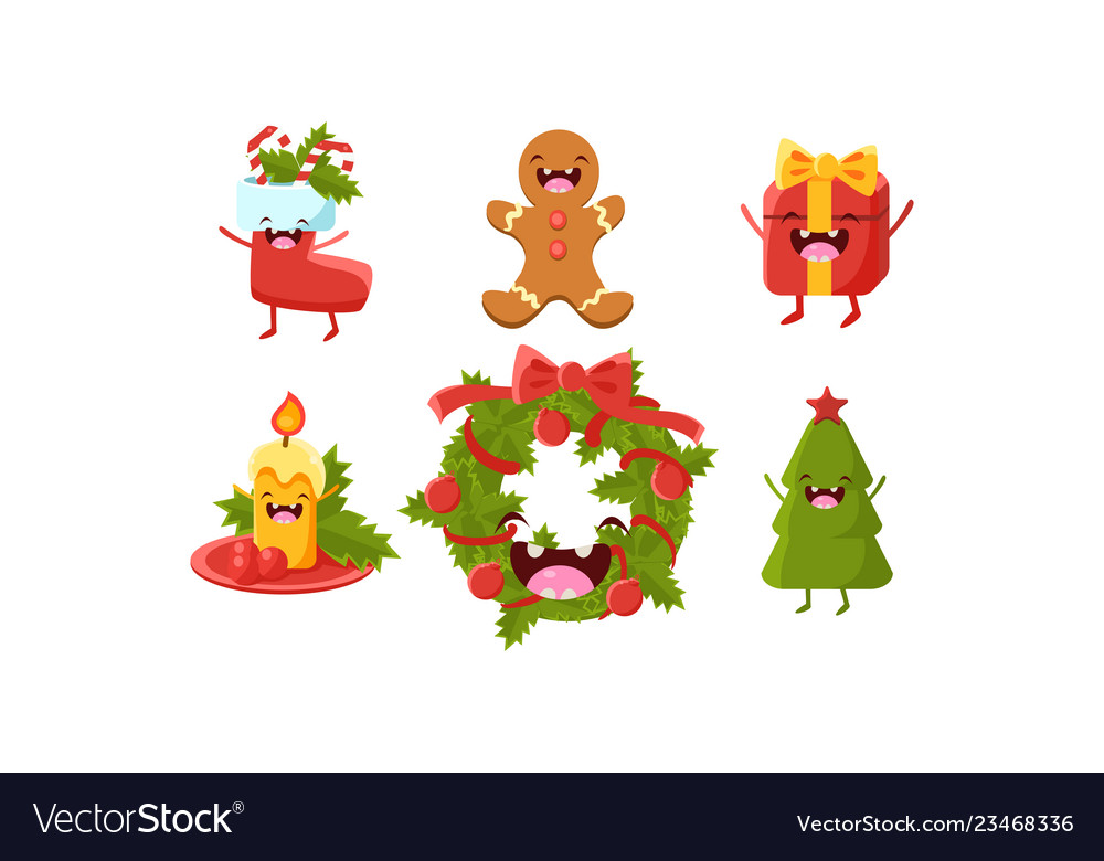 Cute christmas cartoon characters set wreath
