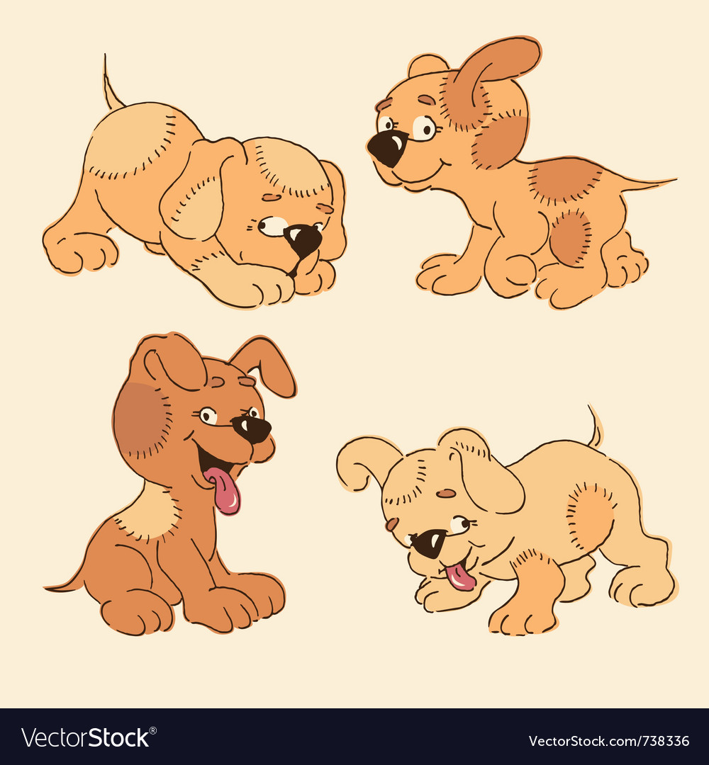Four cartoon puppies