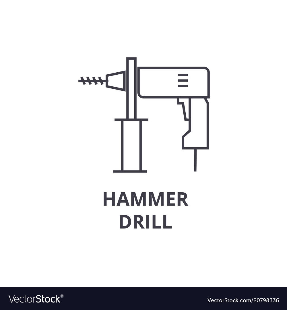 Hammer drill line icon sign
