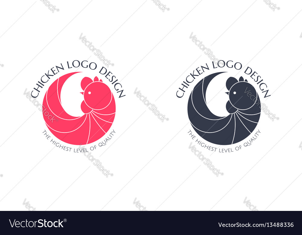 Logo red chicken and black