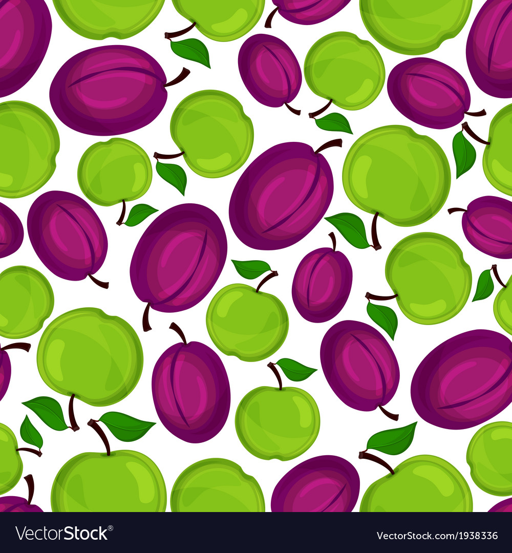 Seamless pattern with plum and apple