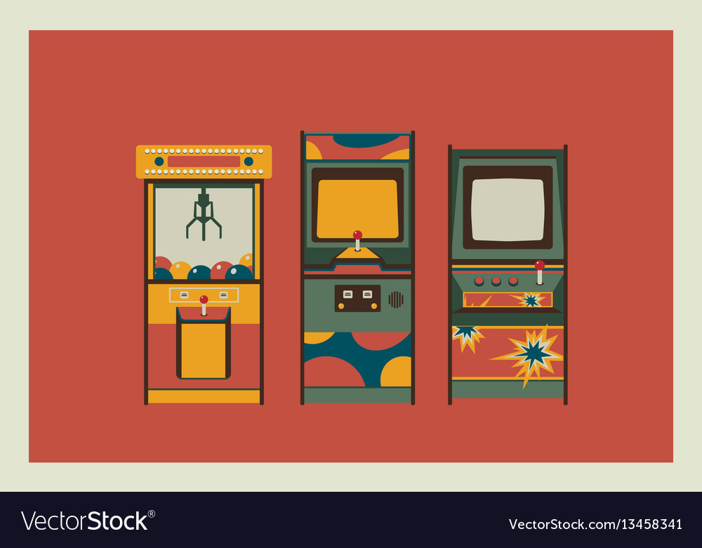 Arcade game machines and claw machine retro vector image
