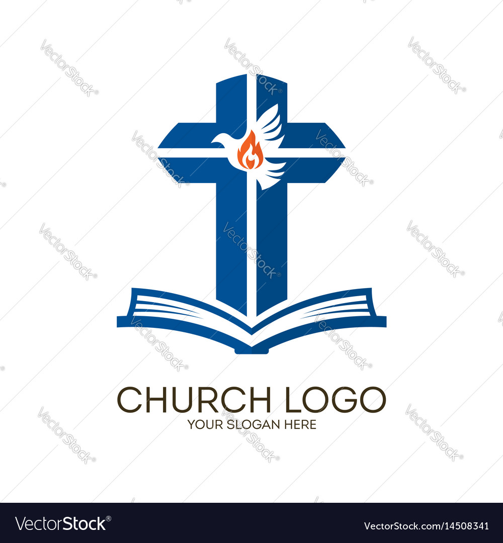 Bible Cross And Holy Spirit Dove Royalty Free Vector Image
